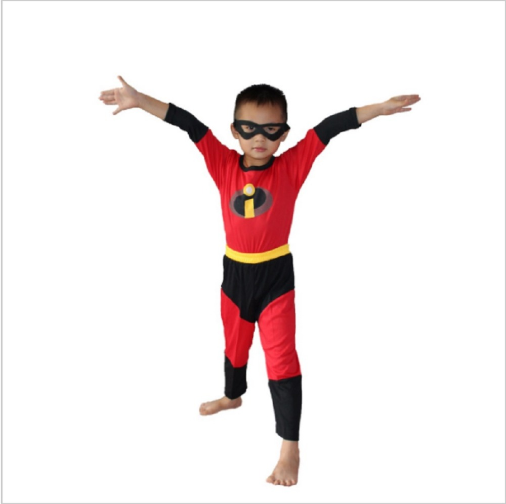 3-7Year Boy The Incredibles Costume Halloween Costume For Kids Party Cosplay T-Shirt+Pants+Mask 3pcs Set S-XXL