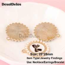 10pcs/lot Bow Round Pearl Enamel Charms Oil Drop Zinc Alloy Gold-Color Floating Pendant Fashion Jewelry Accessories 2019