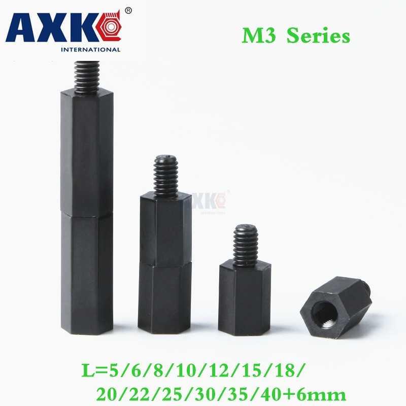 100pcs M3 Black Nylon Standoff M3 5 6 8 10 12 15 18 20 25: Axk 100pcs M3 6mm Black Nylon Standoff Spacer Male To