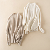 Cashmere Wool Thick Knit Women S Fashion Pullover Sweater Batwing Sleeve Half High Collar Beige Claret