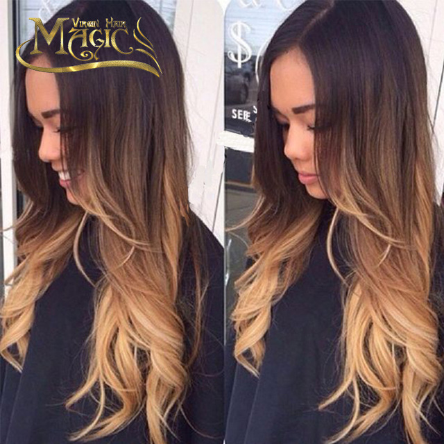 Brésilienne Vierge Cheveux Sans Colle Full Lace Perruques Ombre Blonde  Cheveux Ondulés Avant de Lacet Perruque