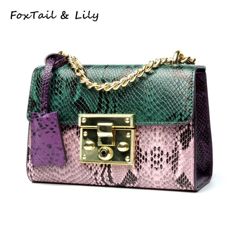 FoxTail & Lily Serpentine Patchwork Handbag Women Genuine Leather Chain Small Shoulder Messenger Bags Luxury Mini Crossbody Bag vm fashion kiss genuine leather serpentine chain small messenger bags for women high quality mini shoulder bags falp bag lady