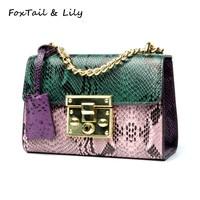 FoxTail Lily Serpentine Patchwork Handbag Women Genuine Leather Chain Small Shoulder Messenger Bags Luxury Mini Crossbody