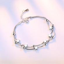 Everoyal Trendy Star Square Bracelets For Women Jewelry Charm 925 Sterling Silver Bracelet Girls Lady Accessories Female Bijou