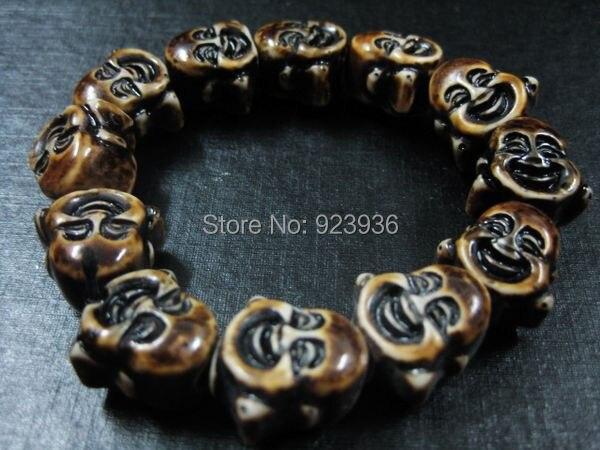 FREE SHIPPING 2PCS Tibet Lucky Buddha Head Bead Yak Bone Totem Bracelet