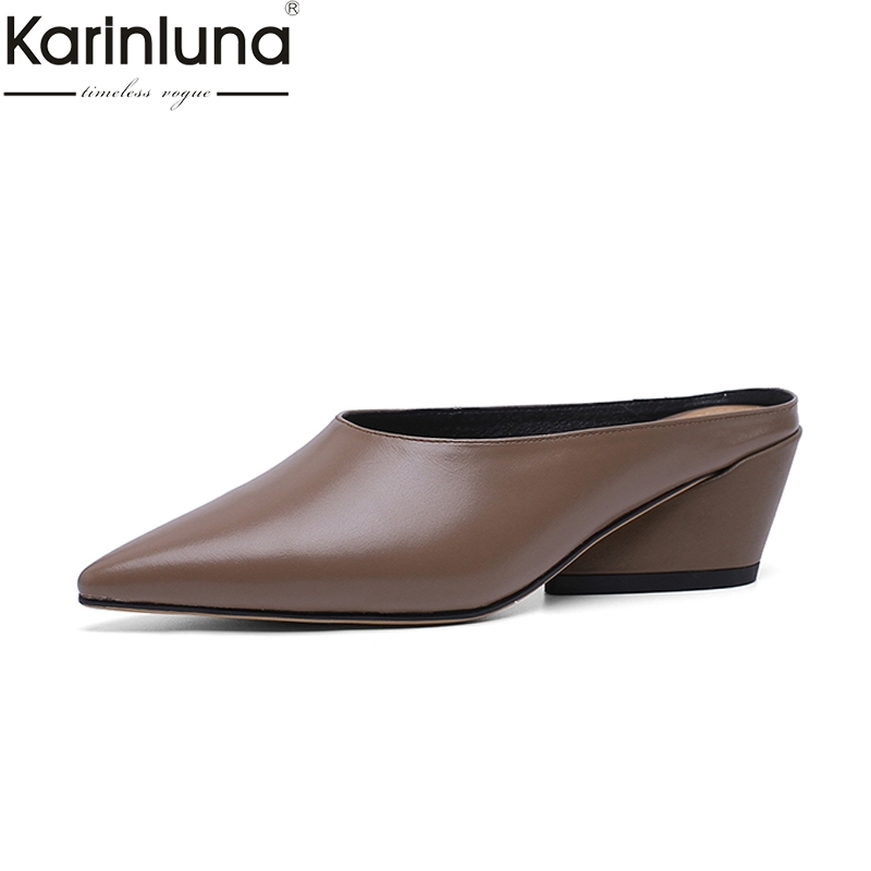 KarinLuna 2019 Brand New Genuine Feather Comfortable Mules Shoes Elegant women s Office Shoes mules pumps