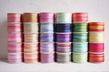 7mmX10m/card variegated colors of  100% pure silk embroidery ribbon thin taffeta high quality Anya Ribbon Handcraft
