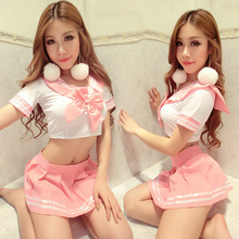 Women Japanese sex school uniforms Korean Fashion Short Shirt Pleated Skirts Exotic Sailor for girl Pink Kawaii Harajuku Seifuku