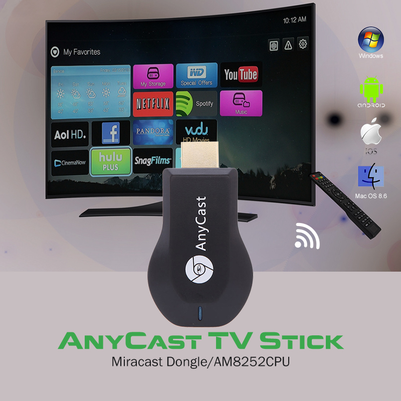 AnyCast EasyCast OTA WIFI Media Player Miracast DLNA Airplay 1080P Windows iOS Android Smart TV Stick Dongle Google Chromecast
