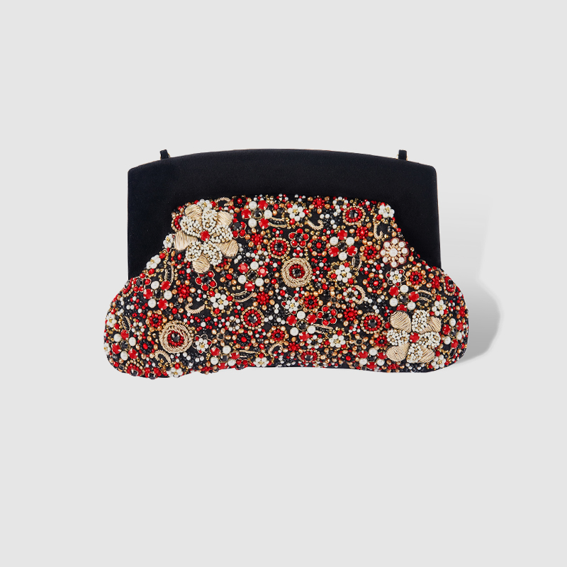 LOCAL FOCAL Stylish black floral clutch bag local focal fashionable handmade with delicate handbag