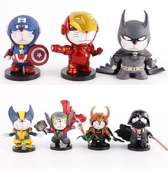<font><b>Anime</b></font> Cartoon Doraemon <font><b>Cosplay</b></font> Thor Captain America Iron Man <font><b>PVC</b></font> Batman <font><b>Action</b></font> <font><b>Figures</b></font> Collectible <font><b>Model</b></font> Toy 10cm