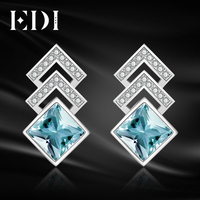 EDI Luxurious 2ct Natural Sky Blue Topaz 100 925 Sterling Silver Drop Earrings For Women Fine