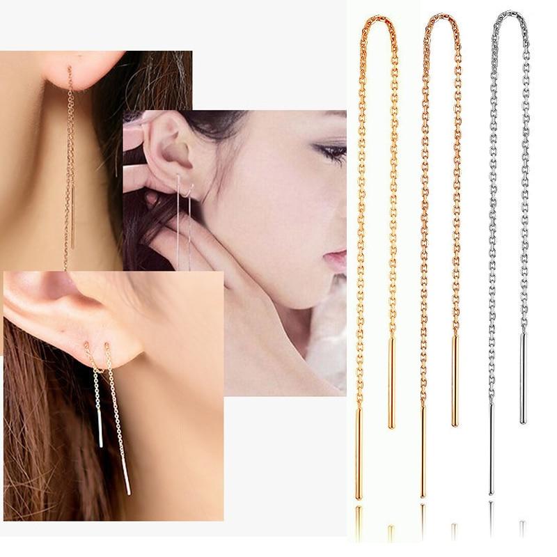 925 Sterling Silver Leaf Pull Through Chain Ear Thread Threader Dangle Earrings