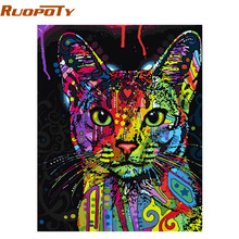 RUOPOTY Colorful Cat DIY Painting By Numbers Abstract Modern Wall Art Picture Kits Coloring Painting By Numbers For Home Decor(China)