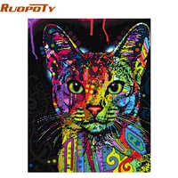 RUOPOTY Colorful Cat DIY Painting By Numbers Abstract Modern Wall Art Picture Kits Coloring Painting By Numbers For Home Decor