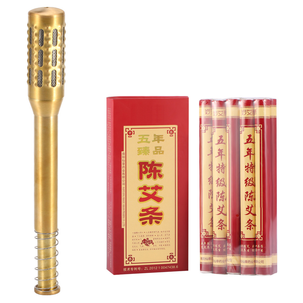 Brass Moxa Roll Set Acupuncture Therapy Copper Massage Meridian Moxa Moxibustion Roller Stick Micro-smoke Mugwort Burner