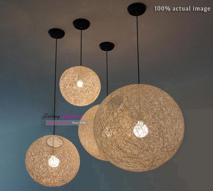 Modern Twine Ball Pendant Lamp Hemp Rope Light White Black
