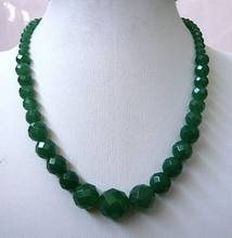 "Verde 6-14mm Facetada Natural Emerald Granos Redondos Del Collar 18 ""5.27(China)"