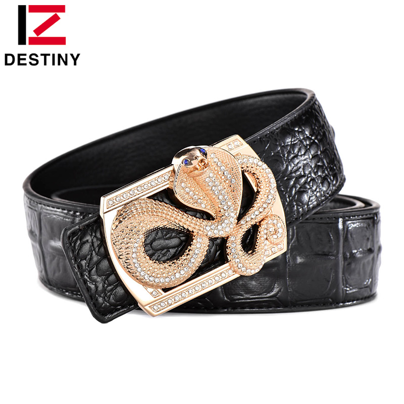 DESTINY Latest Snake Design Belt Men Luxury Famous Brand Male Genuine Leather Strap Waist High Quality Gold Silver Wedding Jeans