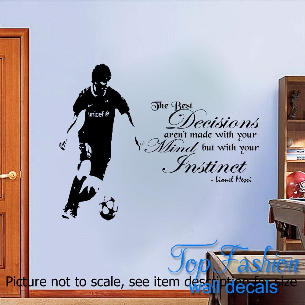 Lionel Messi <font><b>Quote</b></font> Wall Sticker Barcelona <font><b>FC</b></font> Player Wall Murals Vinyl Decal 3 sizes