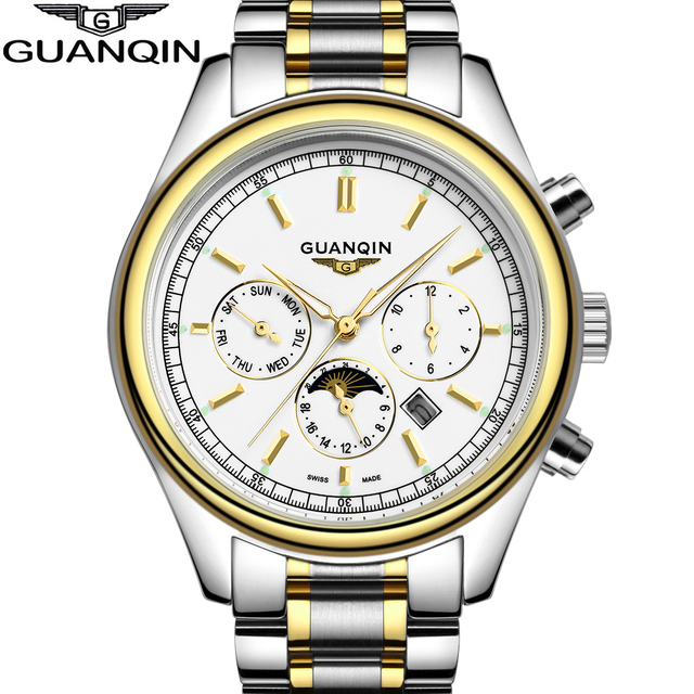 2016 New Fashion male Casual watch Luxury Brand GUANQIN Multifunctional Men luminous Quartz Watch Men's business clock hours