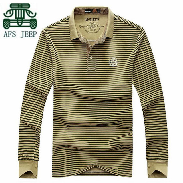 a8578479 AFS JEEP 2016 Autumn Mens Casual Full Sleeve polo shirt,Thin Striped  Elasticity Adult Plus