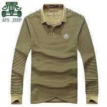 AFS JEEP 2016 Autumn Mens Casual Full Sleeve polo shirt,Thin Striped Elasticity Adult Plus size Long Sleeve Pullover  polo shirt
