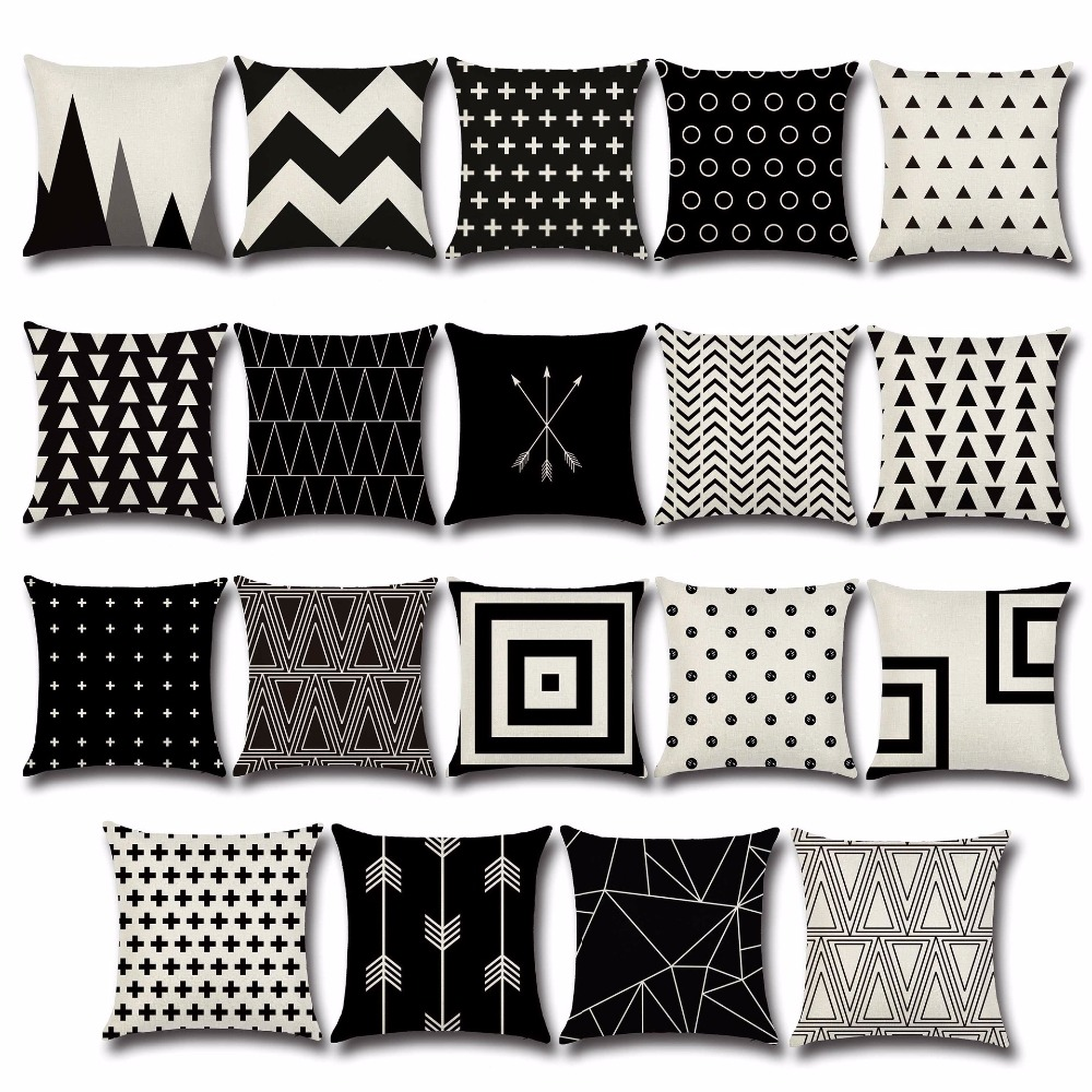 1 Pc Geometrische Kussenhoes Zwart Wit Kussenhoes Arrow Home Decoratieve Stoel Seat Couch Sierkussen Case Ou 001 Winst Klein