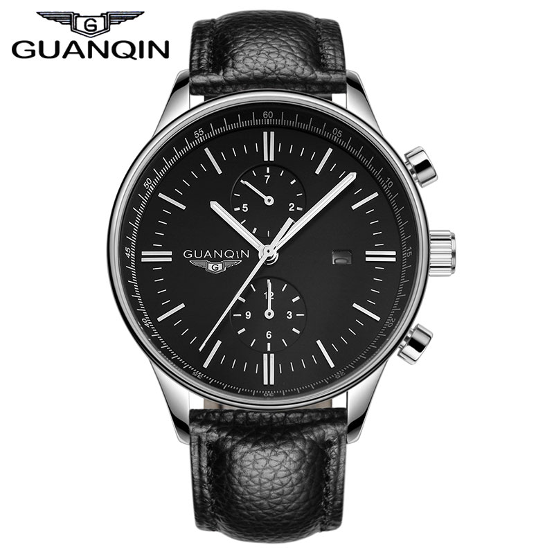 GUANQIN GQ13006 Relogio Masculino TOP Luxury Brand Watch Men Luminous Quartz Watches Leather Sports Watch Wristwatches Clock new chenxi clock watches men top brand luxury mens leather wristwatches men s quartz popular sports watch relogio masculino
