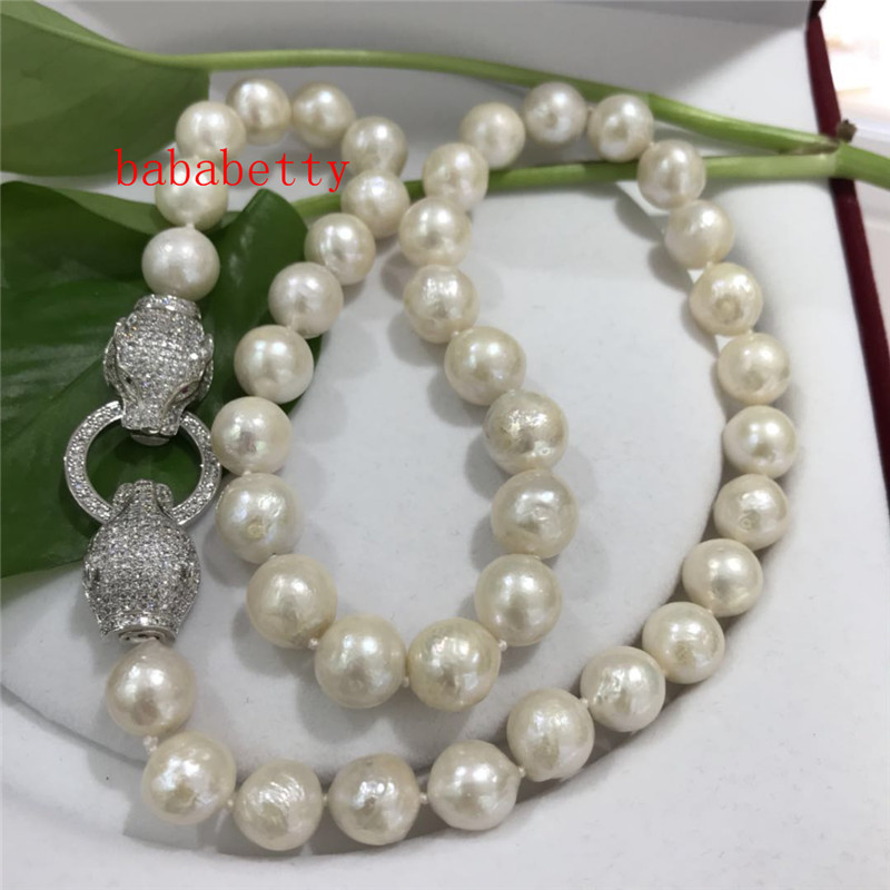Naturel 10-11 mm Blanc Baroque SOUTH SEA PEARL NECKLACE 25/""