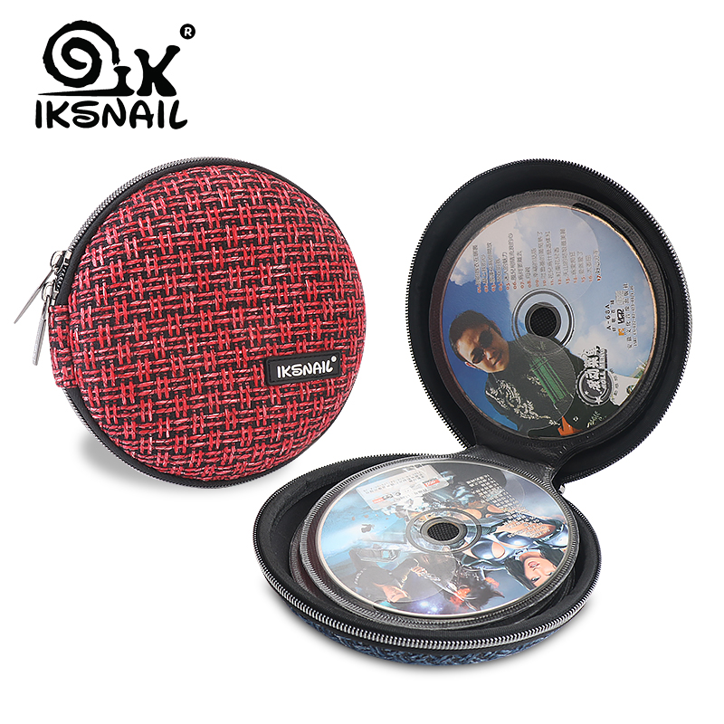 IKSNAIL Portable CD Case 32pcs Disc CD DVD Wallet Storage Organizer Case Holder Sleeve Wool Hard Bag Album Box Cases with Zipper