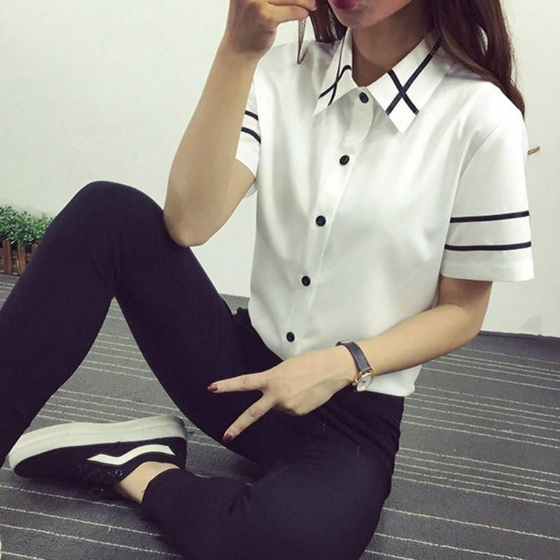 HTB1eZlVNXXXXXb XXXXq6xXFXXX3 - Fashion Ladies Office Shirt White Blue Tops Formal