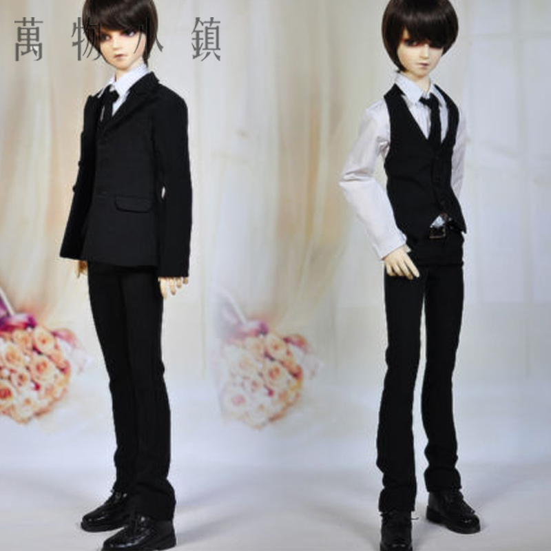 Accept custom NEW Black Gentleman Suit 1/3 1/4 SD MSD LUTS BJD Doll Clothes new 1 3 22 23cm 1 4 18 18 5cm bjd sd dod luts dollfie doll orange black short handsome wig