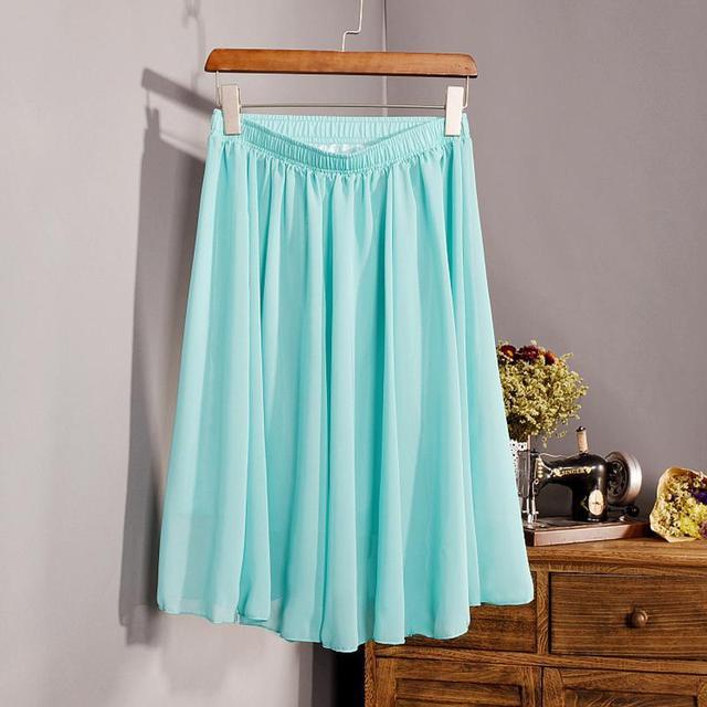 New Fashion Women's 23 Color High Waist Chiffon Skirt 2018 Summer Ladies Casual Slim Beach Pleated Skater Midi Skirts Saia SK17 6