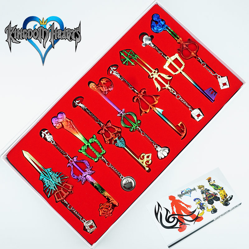9PCS/Set Kingdom Hearts keyblade Keychain Sora Weapons Figures Pendant Color Metal Cosplay Collection Cartoon Game +Box Gift футболка ea7 ea7 ea002emuei37