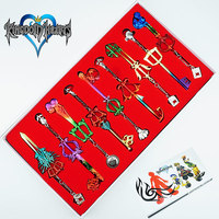 9PCS/Set Kingdom Hearts keyblade Keychain Sora Weapons Figures Pendant Color Metal Cosplay Collection Cartoon Game +Box Gift