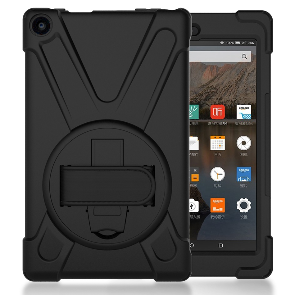 Heavy Duty Shockproof Hand Strap Cover For <font><b>Amazon</b></font> 2017 New Kindle Fire HD 8 HD8 2018 Kickstand Hybrid Kids Safe Tablet Case image