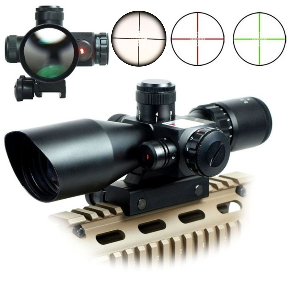 2.5-10x40 Air Rifle Scope Reticle Red Green Dot Mil-dot Dual illuminated Sight With Red Laser w/ Rail Mount Airsoft Gun Hunting 3 10x42 red laser m9b tactical rifle scope red green mil dot reticle with side mounted red laser guaranteed 100%