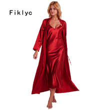 Fiklyc iç çamaşırı 2019 bahar seksi kadın uzun gecelik + bornoz iki adet robe & kıyafeti setleri gecelikler SıCAK saten pijama