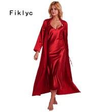 Fiklyc unterwäsche 2019 frühling sexy frauen lange nachthemd + bademäntel zwei stücke robe & kleid sets nachthemden HEIßER satin nachtwäsche