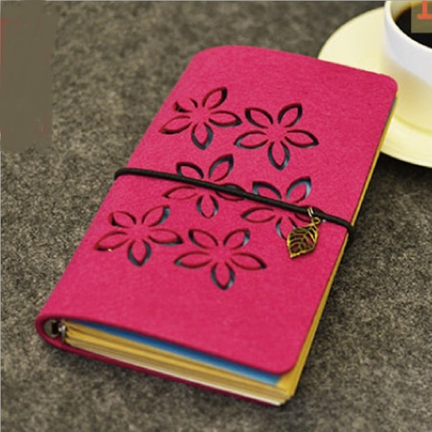 Red Petals Journal Diary Fabric Cover Cute Blank Kraft Paper Planner Travel School Study Notebook ruize soft cover leather traveler notebook blank kraft paper note book a7 a6 creative travel journal diary school supplies