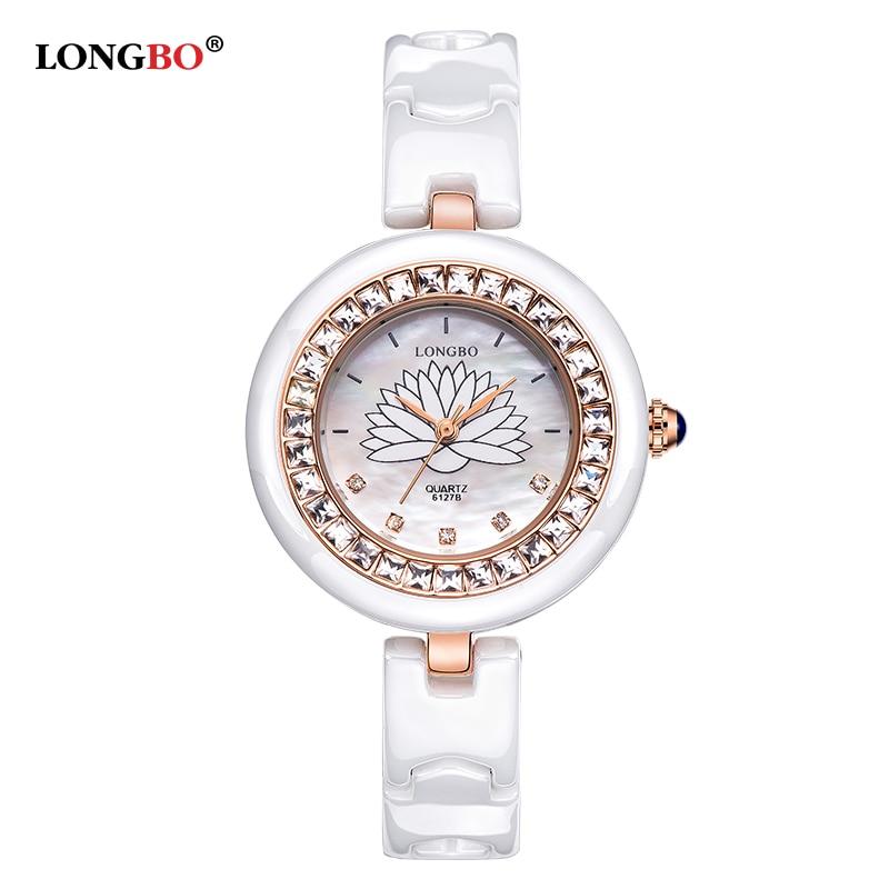 Watch Women LONGBO Brand Luxury Fashion Casual Quartz Ceramic Watches Lady Relojes Mujer Women Wristwatch Girl Dress Clock 6127