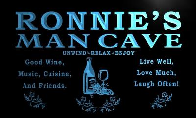 x0158-tm Ronnies Man Cave Wine Beer Bar Custom Personalized Name Neon Sign Wholesale Dropshipping On/Off Switch 7 Colors DHL