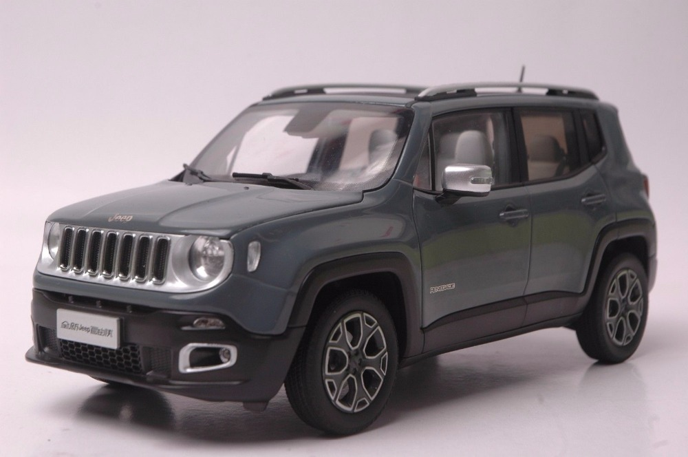 1:18 Diecast Model For Jeep Renegade 2016 Gray SUV Alloy Toy Car Miniature Collection Gift