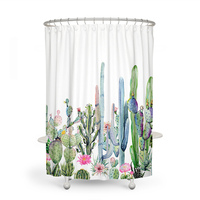 Africa Ttropical Plant 180 180 Waterproof Shower Curtain Cactus Polyester Fabric Bath Curtain Bathroom Curtains Home