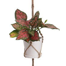 Mayitr 125cm Plant Hanger Dark Jute Double Macrame 2 Tiers Pot Knotted Lifting Rope Hanging Holder For Garden