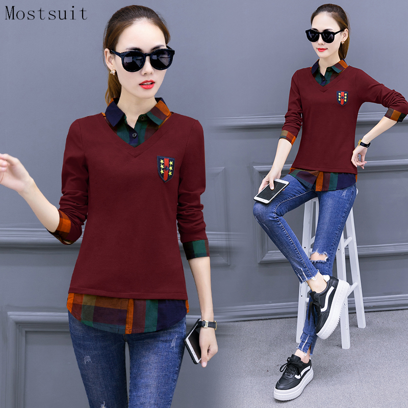 M-3xl Plaid Blusas   Shirt   Women Fake Two Pieces Casual Office Tops Plus Size Long Sleeve Korean Elegant   Blouses   Tops Femininas