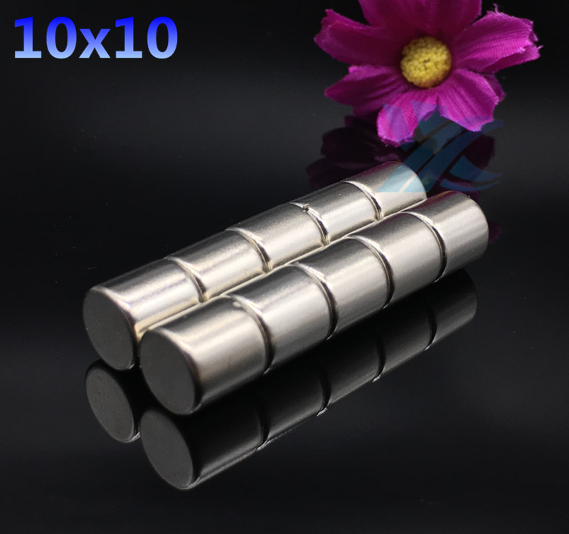 free shipping 10PCS 10mm x 10mm  Strong Round Cylinder Magnets 10X10 Rare Earth Neodymium NEW 10*10 Art Craft Connection