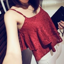 Camisole Omighty Tank-Top Spaghetti-Strap Wine-Crop-Top Lace t-Shirt Women Ladies Short