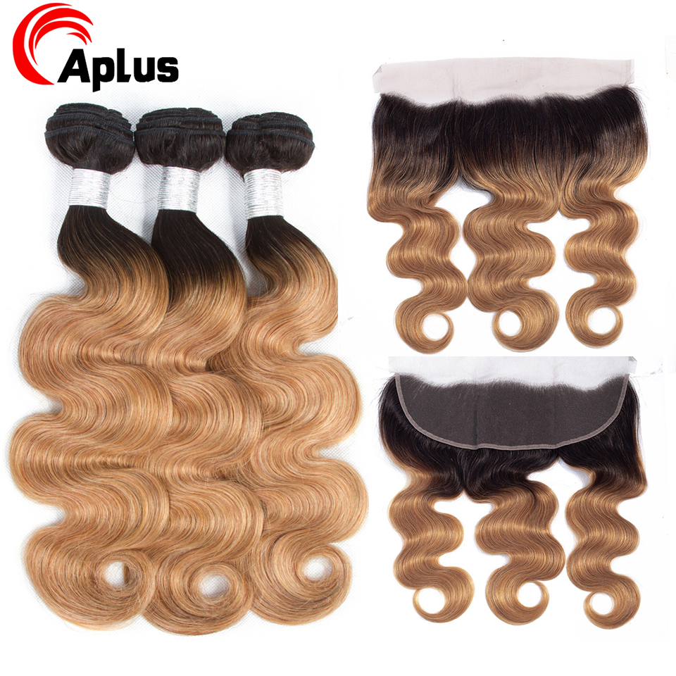 Honey Blonde Bundles With Frontal Ombre Brazilian Body Wave Remy Hair Weave 13*4 Ear To Ear Lace Frontal Closure With Bundles